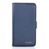 Чехол NUOKU BOOK Stylish Leather Case BLUE для iPhone 4/4S