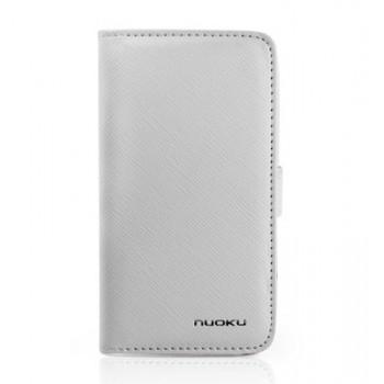 Чехол NUOKU BOOK Stylish Leather Case WHITE для iPhone 4/4S