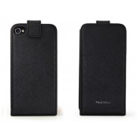 Чехол NUOKU FLIP Stylish Leather Case BLACK для iPhone 4/4S