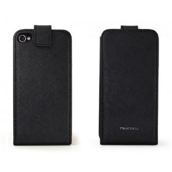 Чехол NUOKU FLIP Stylish Leather Case BLACK для iPhone 4/4S
