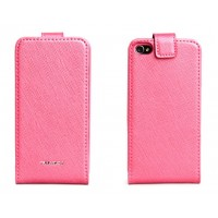 Чехол NUOKU FLIP Stylish Leather Case PINK для iPhone 4/4S