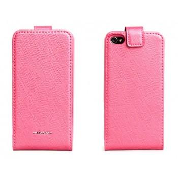 Чехол NUOKU FLIP Stylish Leather Case PINK для iPhone 4/4S