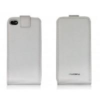 Чехол NUOKU FLIP Stylish Leather Case WHITE для iPhone 4/4S