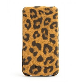 Чехол NUOKU LEO Stylish Leather Case BROWN для iPhone 4/4S
