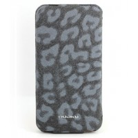 Чехол NUOKU LEO Stylish Leather Case GREY для iPhone 4/4S