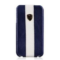 Чехол Nuoku Rock Luxury Flip Leather Case BLUE для iPhone 4/4S