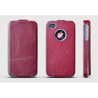 Чехол ROCK Big City Leather Fashion Flip Case WINE RED для iPhone 4/4S