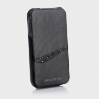 Чехол Spigen Leather Case Anne Rossi Series TWILIT BLACK для iPhone 4/4S