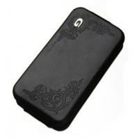 Чехол Spigen Gariz Edition BLACK Leather Case для iPhone 4/4S
