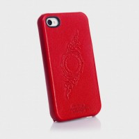 Чехол Spigen Case Genuine Leather Grip Series infinity Red для iPhone 4/4S