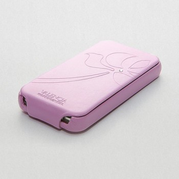 Чехол Spigen Leather Case Valencia Swarovski Series PINK для iPhone 4/4S