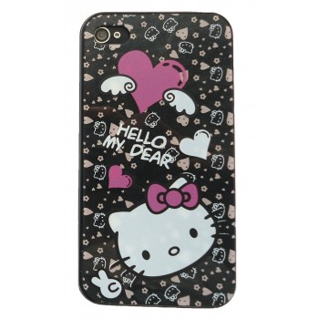 Чехол пластиковый VIVA Hello Kitty Back Cover Case BLACK для iPhone 4/4S