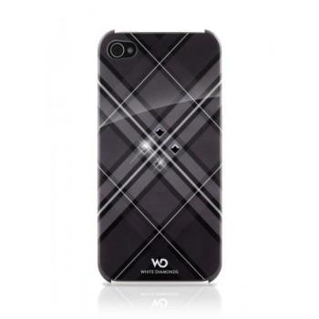 Чехол пластиковый White Diamonds Grid Black для iPhone 4/4S