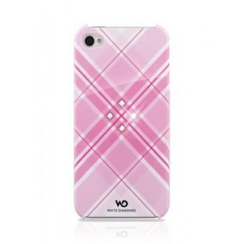 Чехол пластиковый White Diamonds Grid Pink для iPhone 4/4S