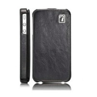 Чехол ICARER Yau Wax Leather Case BLACK для iPhone 4/4S