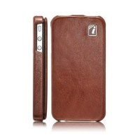 Чехол ICARER Yau Wax Leather Case BROWN для iPhone 4/4S