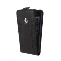 Чехол Ferrari F12 Collection Leather Flip Case BLACK для iPhone 5/5S