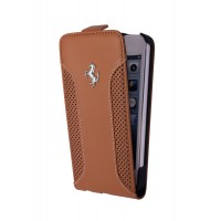 Чехол Ferrari F12 Collection Leather Flip Case CAMEL коричневый для iPhone 5/5S