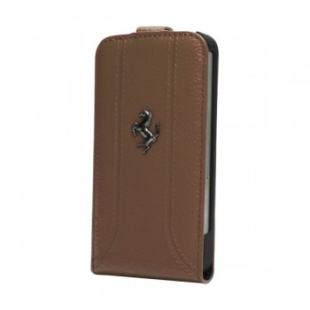 Чехол Ferrari FF Flip Leather Case CAMEL для iPhone 5/5S