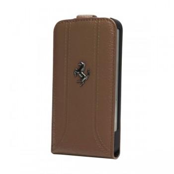 Чехол Ferrari FF Flip Leather Case CAMEL коричневый для iPhone 5/5S