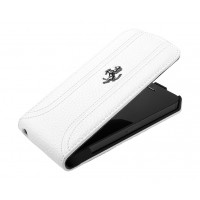 Чехол Ferrari FF Flip Leather Case WHITE для iPhone 5/5S