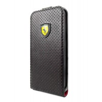 Чехол Ferrari Challenge Flip Case FULL PERFORATED черный для iPhone 5/5S