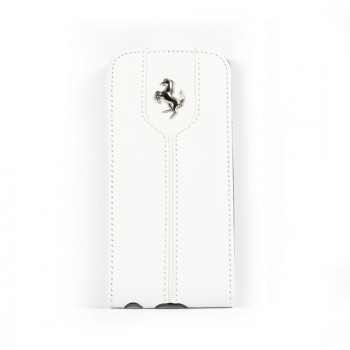 Чехол Ferrari Montecarlo Leather Flip Case WHITE для iPhone 5/5S/SE