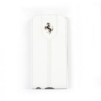 Чехол Ferrari Montecarlo Leather Flip Case WHITE для iPhone 5/5S/SE