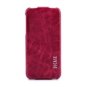 Чехол-флип кожаный DICASE Leather Flip VINTAGE RED для iPhone 5/5S/5SE