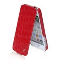 Чехол-флип кожаный HOCO Bright Crocodile Flip Leather Сase Red для iPhone 5/5S/5SE