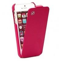 Чехол флип кожаный HOCO Duke Flip Leather Сase Pink для iPhone 5/5S/5SE