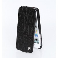 Чехол флип кожаный HOCO Knight Flip Leather Case Black для iPhone 5/5S