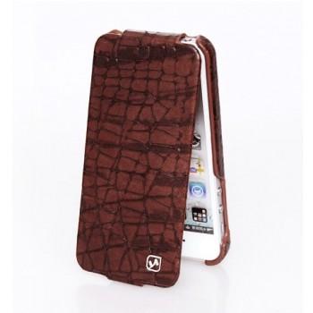 Чехлы - Чехол флип кожаный HOCO Knight Flip Leather Case Brown для iPhone 5/5S