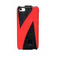 Чехол флип кожаный HOCO Mixed Color Flip Leather Сase Black Red для iPhone 5/5S/SE