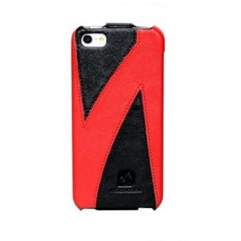 Чехол флип кожаный HOCO Mixed Color Flip Leather Сase Black Red для iPhone 5/5S/SE