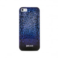 Чехол пластиковый PURO JUST CAVALLI Leopard Double Stripes BLUE для iPhone 5/5S