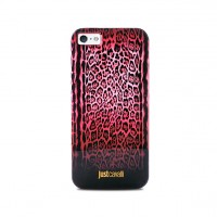 Чехол пластиковый PURO JUST CAVALLI Leopard Double Stripes RED для iPhone 5/5S