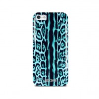 Чехол PURO JUST CAVALLI Leopard Single Stripes GREEN для iPhone 5/5S