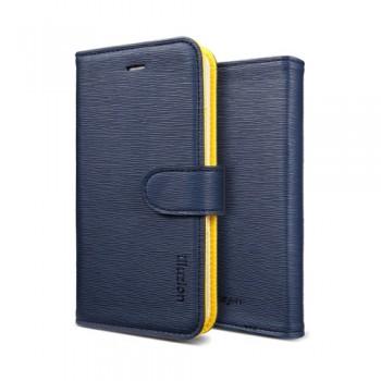 Чехол Spigen Leather Case illuzion Lemon Indigo для iPhone 5/5S