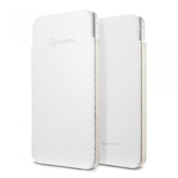 Чехол-карман кожаный Spigen Leather Pouch Crumena S WHITE для iPhone 5/5S