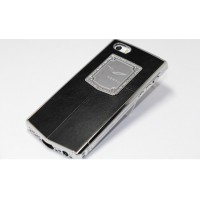 Чехол Vertu Metal Leather Case Swarovski Crystal Black для iPhone 5/5s