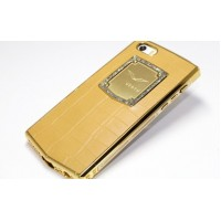Чехол Vertu Metal Leather Case with Swarovski Crystal GOLD для iPhone 5/5s