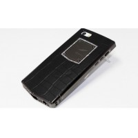 Чехол Vertu Metal Leather Case with Swarovski Crystal BLACK SQR для iPhone 5/5s