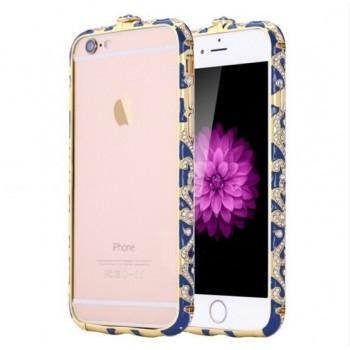 Бампер металлический Fancy Color Diamond Navy Blue Gold для iPhone 6/6s