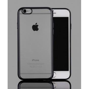 Чехол силиконовый прозрачный с цветной окантовкой Dark Grey для iPhone 6 Plus