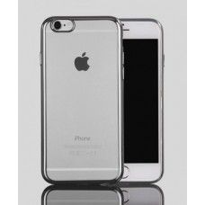 Чехол силиконовый прозрачный с цветной окантовкой Silver для iPhone 6 Plus