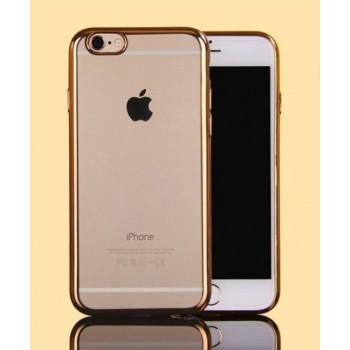 Чехол силиконовый прозрачный с цветной окантовкой Gold для iPhone 6 Plus